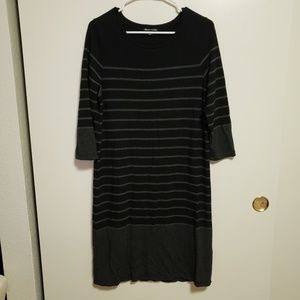 Hilary Radley Black/Gary Shirt Stripe Dress